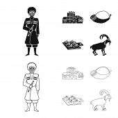 Vector Illustration Of Culture And Sightseeing Icon. Set Of Culture And Originality Stock Symbol For poster