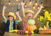 Children Play Vegetables Wooden Background. Kids Girl Boy Wear Hat Celebrate Harvest Festival Rustic poster