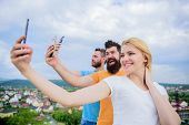 We Are All Individuals. People Enjoy Selfie Shooting On Nature. Best Friends Taking Selfie With Came poster