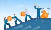 Distribution Dividends And Annual Profits. Flat Vector Illustration On Blue Background. Main Man Dis poster