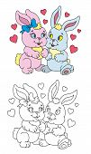 Coloring Pages For Childrens With Funny Animals,funny Bunnies poster