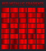 Collection Red Metallic Gradients, Chrome Christmas Gradient Set. Vector Illustration. poster