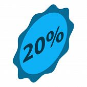 Minus 20 Percent Sale Icon. Isometric Of Minus 20 Percent Sale Icon For Web Design Isolated On White poster