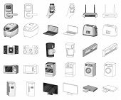 Smart Home Appliances Monochrome, Outline Icons In Set Collection For Design. Modern Household Appli poster