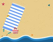 Summertime Background With Copy Space. Aerial View Of Summer Beach With Golden Sand, Slippers, Mat,  poster