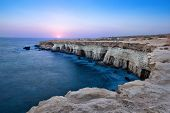 View Of Cliff With Sea Caves At Sunset On Cape Greco Near Ayia Napa, Cyprus (hdr Image) poster