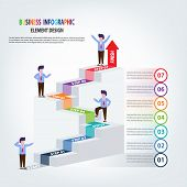 Business Infographics Template Stairs With Arrow And People Steps For Presentation, Sale Forecast, S poster