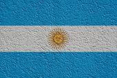Argentina Politics Or Business Concept: Argentine Flag Wall With Plaster, Background Texture poster