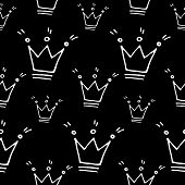 Cute Cartoon Princess Print With Hand Drawn Crowns. Sweet Vector Black And White Princess Print. Sea poster
