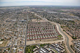 image of snowbird  - Red roofs in a subdivision of Yuma Arizona - JPG