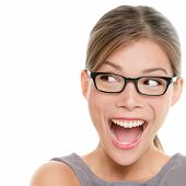 stock photo of spectacles  - Excited woman looking sideways screaming of joy - JPG