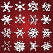 Collection of sixteen different snowflake design
