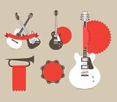 stock photo of stratocaster  - Vector music instruments with red ribbons and tags - JPG