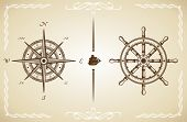 picture of rudder  - Vector Vintage Compass and Rudder - JPG