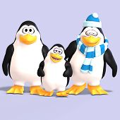 foto of growler  - cute penguin family with father mother child and Clipping Path - JPG
