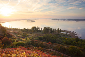 picture of kama  - Autumn calm river Kama at sunrise - JPG