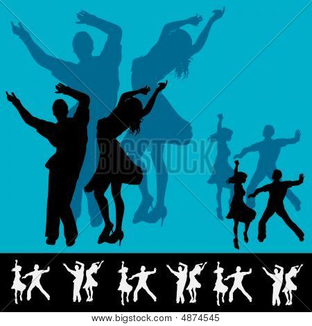 Illustration for a dance club with couples dancing in silhouette