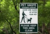 picture of dog poop  - Pet waste sign at the park in Miami
