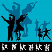 foto of jive  - Background illustration for a dance club with couples dancing in silhouette - JPG