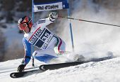 VAL D'ISERE FRANCE. 11-12-2010. EISATH Florian (ITA)  attacks a control gate during  the FIS alpine