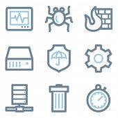 Internet security icons, blue line contour series