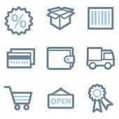 Shopping icons, blue line contour series