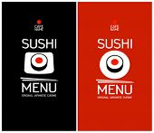 Sushi menu cards design template.