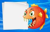 stock photo of piranha  - Illustration of a piranha under the sea beside an empty paper  - JPG