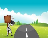 Illustration of a zebra holding an empty wooden signboard along the road