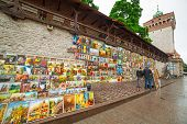 CRACOW, POLAND - JUNE 28: Outdoor gallery on the city walls of Krakow on 28 June 2013. This famous s