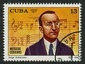 CUBA - CIRCA 1977: A stamp printed in Cuba shows image of the Jorge Anckermann (Havana, 22 March 187