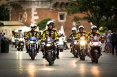 KRAKOW, POLAND - JULY 30: Motorcycle escort for 70th Tour de Pologne cycling 3rd stage race, July 30
