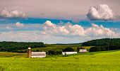 Beautiful Summer Sky Over Barn And Farm Fields In Southern York County, Pennsylvania.