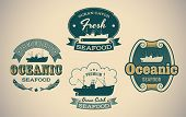 Set of retro-styled seafood labels including an image of fisherman boat. Editable vector.