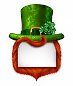 stock photo of irish  - Leprechaun blank sign banner with a green shamrock lucky top hat and orange red hair as a St Patricks day symbol and luck icon of Irish tradition celebration with magical four leaf clover decoration on a white background - JPG