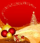 foto of xmas tree  - illustration of a christmas tree on golden waves - JPG