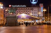 ZAGREB, CROATIA - JANUARY 12, 2014: Ban Jelacic Square (Trg bana Jelacica) with the statue of Ban Jo