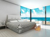 stock photo of master bedroom  - White bedroom interior in a maritime style and sea view - JPG