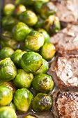veal steak with Brussels sprout