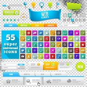 Set of Flat Design Icons, Elements, Widgets and Menus. Website Design Templates