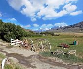 Scenic landscape in the Argentine Patagonia. Entry into solitary estancia in the National Park Perri