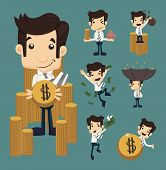 pic of money  - Set of businessman make money characters poses eps10 vector format - JPG