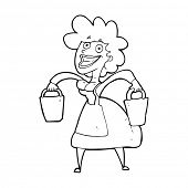 stock photo of milkmaid  - cartoon milkmaid carrying buckets - JPG