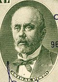 CHILE - CIRCA 1960: Anibal Pinto (1825-1884) on 5 Centimos on 50 Pesos 1960 Banknote from Chile. Pre
