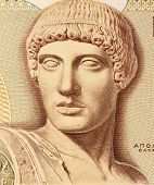 GREECE - CIRCA 1987: God Apollo on 1000 Drachmes 1987 Banknote from Greece. The god of light and the