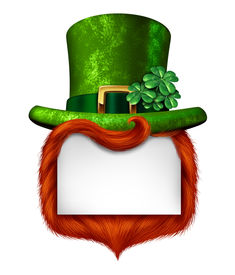 foto of st patty  - Leprechaun blank sign banner with a green shamrock lucky top hat and orange red hair as a St Patricks day symbol and luck icon of Irish tradition celebration with magical four leaf clover decoration on a white background - JPG