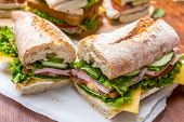 picture of baguette  - Baguette Sandwich with mustard - JPG