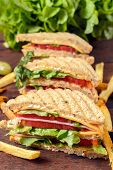 foto of french-toast  - Club toast sandwiches and french fries - JPG