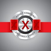 stock photo of pornographic  - Metallic badge with adult content inscription and red ribbon - JPG