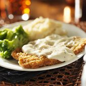 picture of southern  - country fried steak with southern style peppered milk gravy - JPG